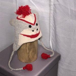 Sock monkey wool hat w/ side braids